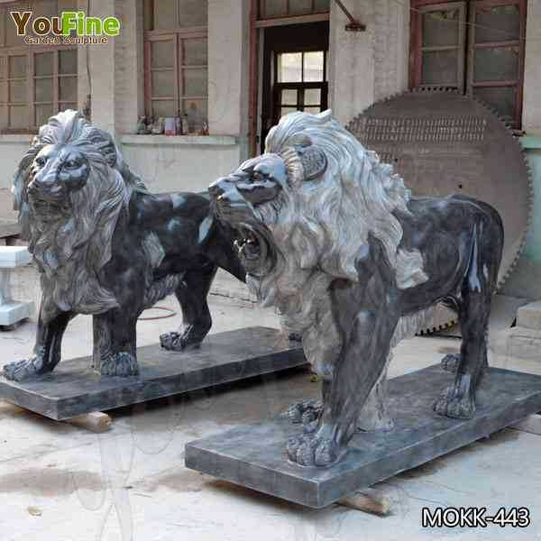 Factory Supply Black Marble Western Lion Sculpture Suppliers MOKK-443