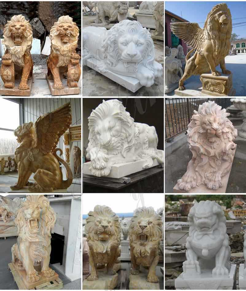 Factory Supply Marble Western Lion Sculpture