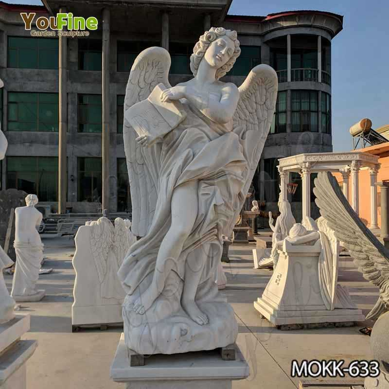 White Marble Female Angel Statue with Weeping Wings for Garden Decor Suppliers MOKK-633