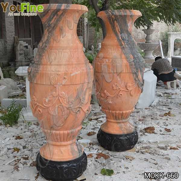 Garden Red Marble Flower Pots Outdoor Decoration planter for Sale MOKK-660
