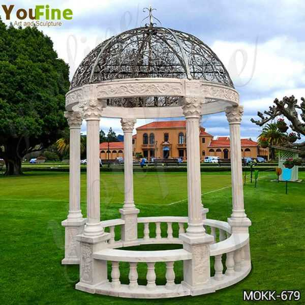 Hand Carved Beige Stone Column Gazebo with Iron Top for Sale