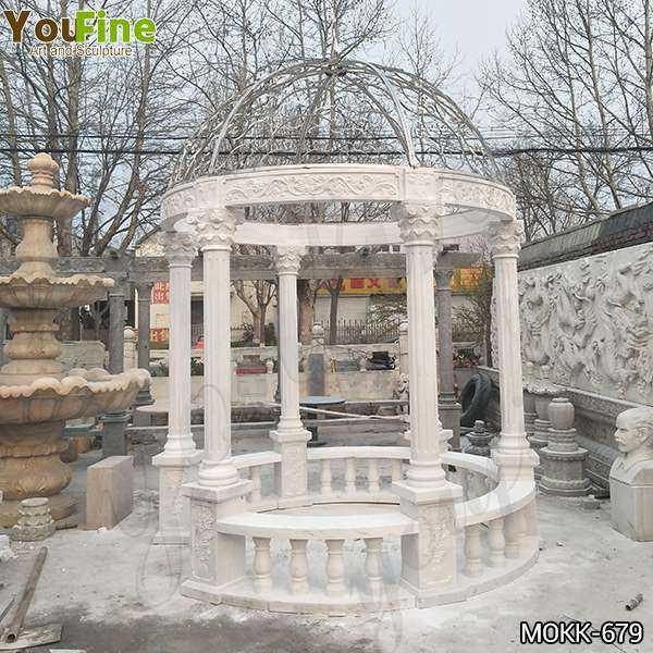 Hand Carved Beige Stone Column Gazebo with Iron Top