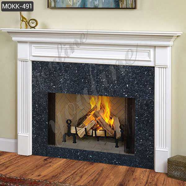 Hand Carved Marble Stone Fireplace White Indoor Modern for Sale MOKK-491