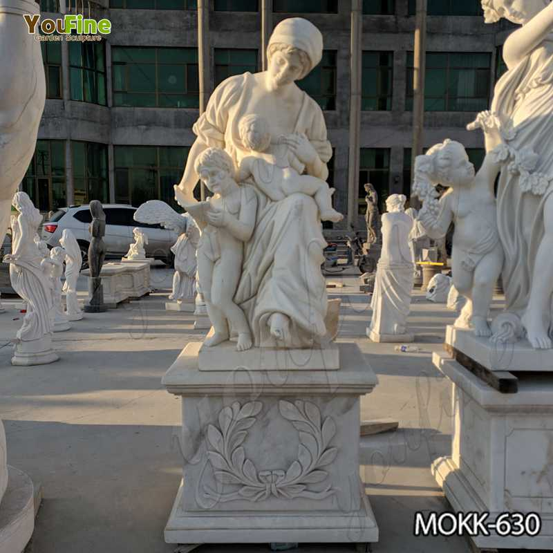 Hand Carved White Marble Woman and Children Statue for Sale MOKK-630