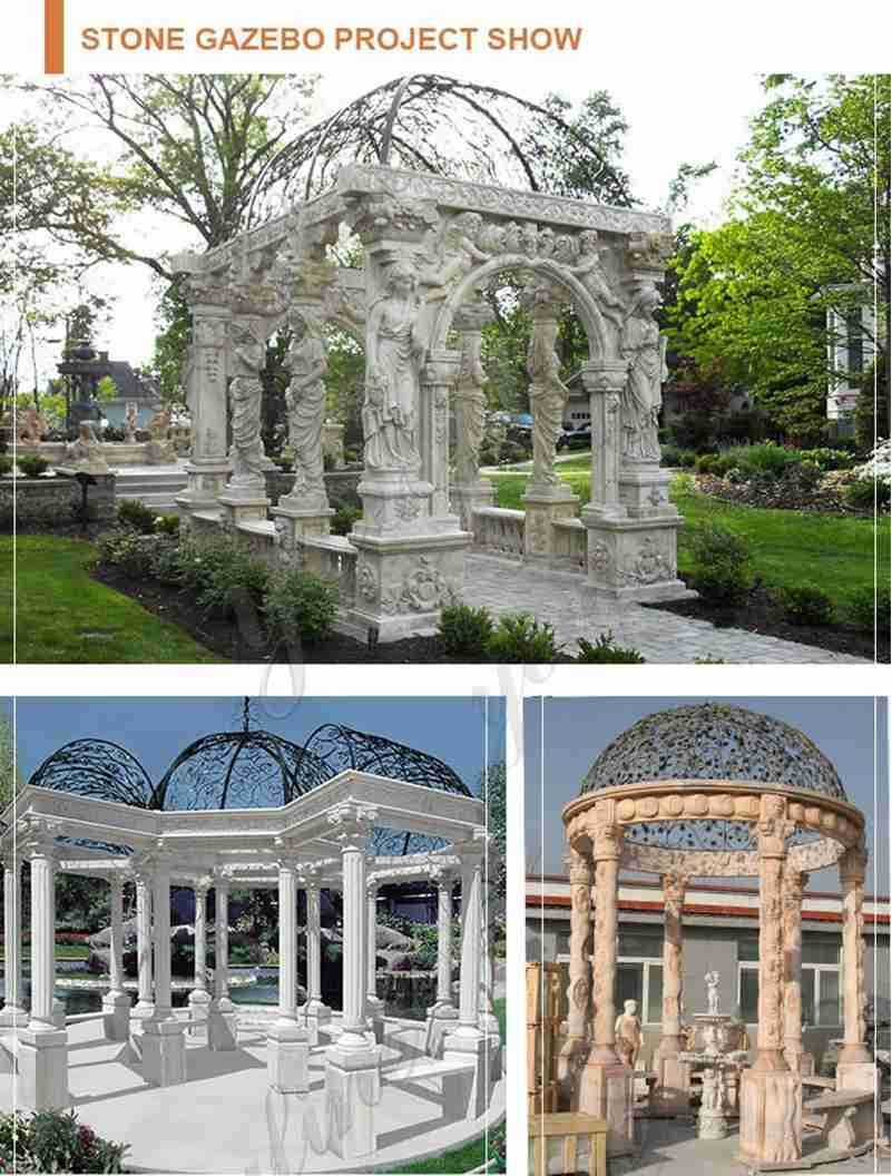 Hand CarvedBeige Stone Column Gazebo with Iron Top for Sale