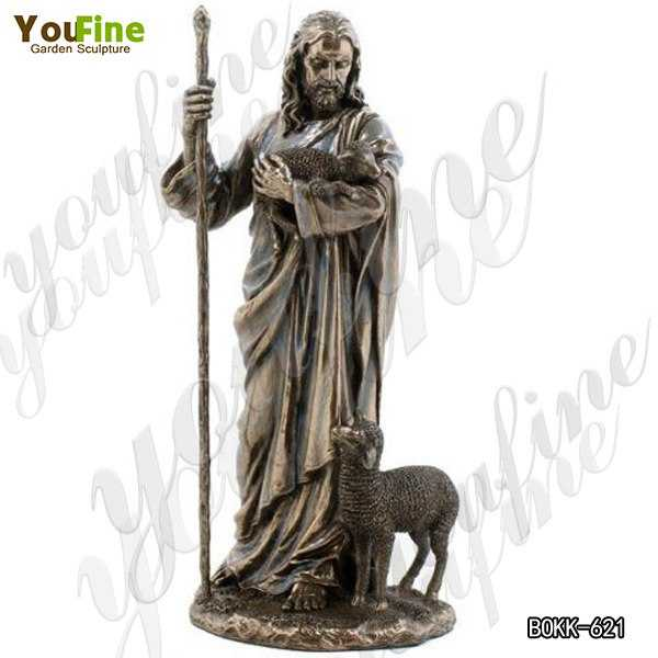 High-quality Religious Casting Bronze Jesus The Good Shepherd Statue Price BOKK-621