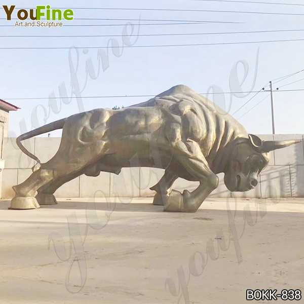 Large Bronze Bull Sculpture on Stock for Sale
