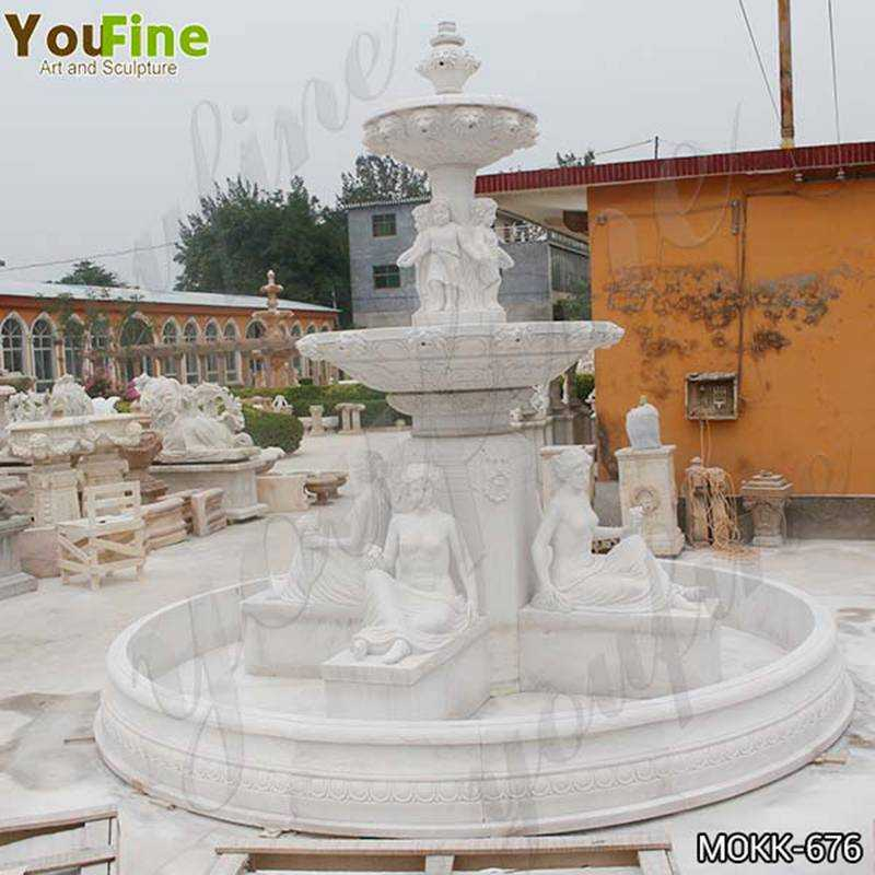 Large Two Tiered Marble Statue Yard Fountain for Sale