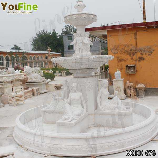 Large Two Tiered Marble Statue Yard Fountain for Sale MOKK-676