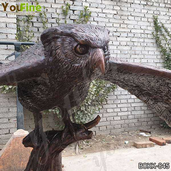 Life Size Cast Bronze Owl Statue with Base