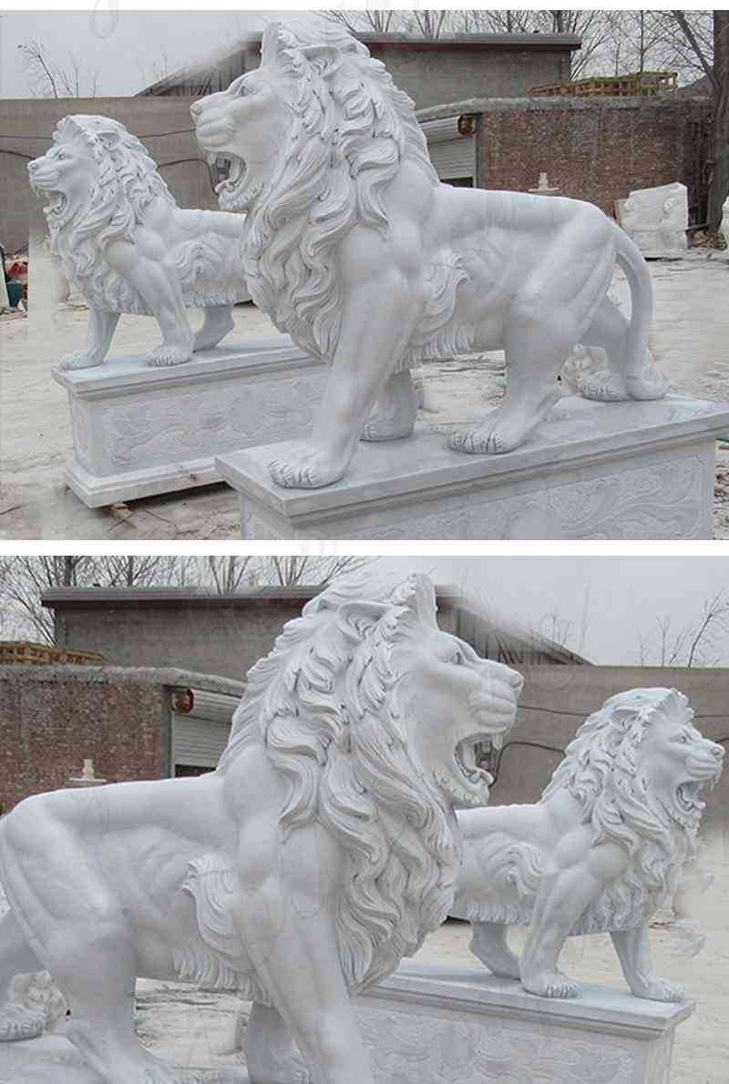 Life Size Outdoor Marble Walking Lion Statues details