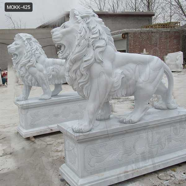 Life Size Outdoor Marble Walking Lion Statues for Sale MOKK-425