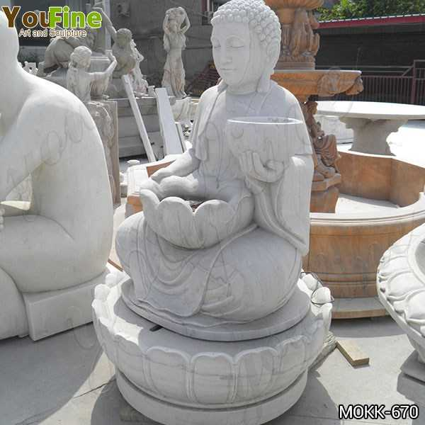 Life Size Outdoor White Marble Buddha Fountain for Sale