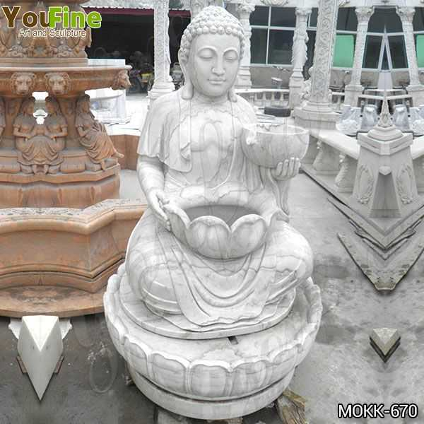 Life Size Outdoor White Marble Buddha Fountain