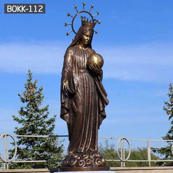 Lowest Price Catholic Antique Bronze Virgin Mary Statue for Church Decoration BOKK-112