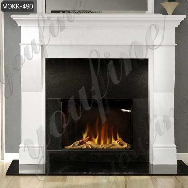Minimalist Design Marble Stone Fireplace White Modern for Sale MOKK-490