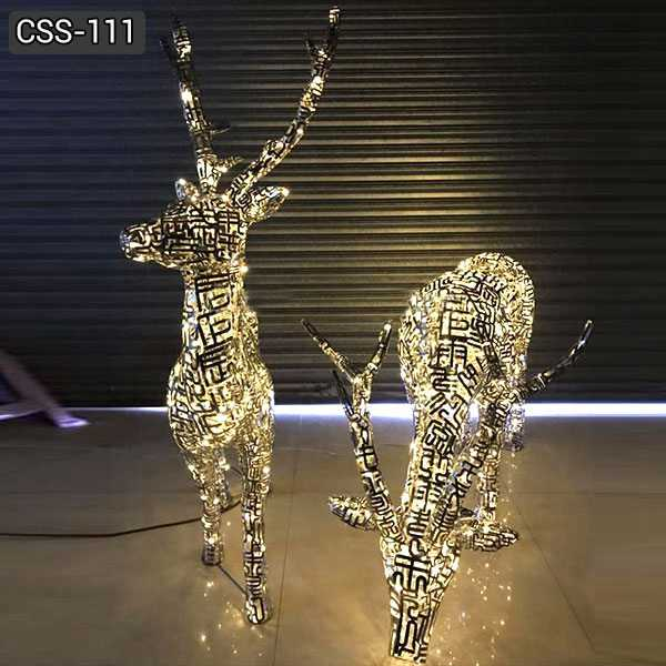 Modern Abstract Stainless Steel Deer Sculpture Design from Factory