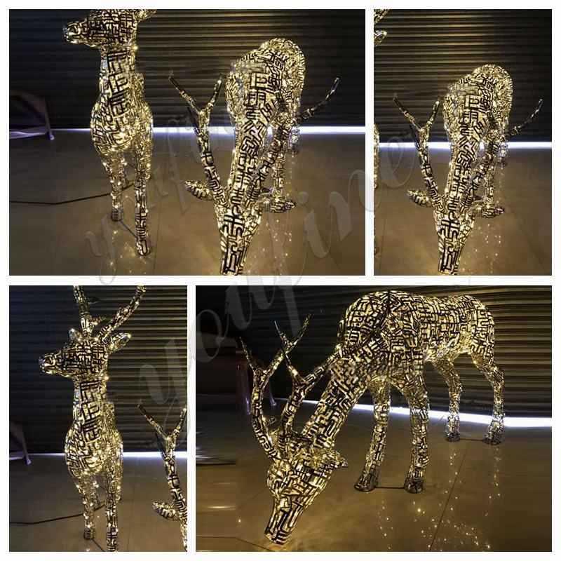 Modern Abstract Stainless Steel Deer Sculpture