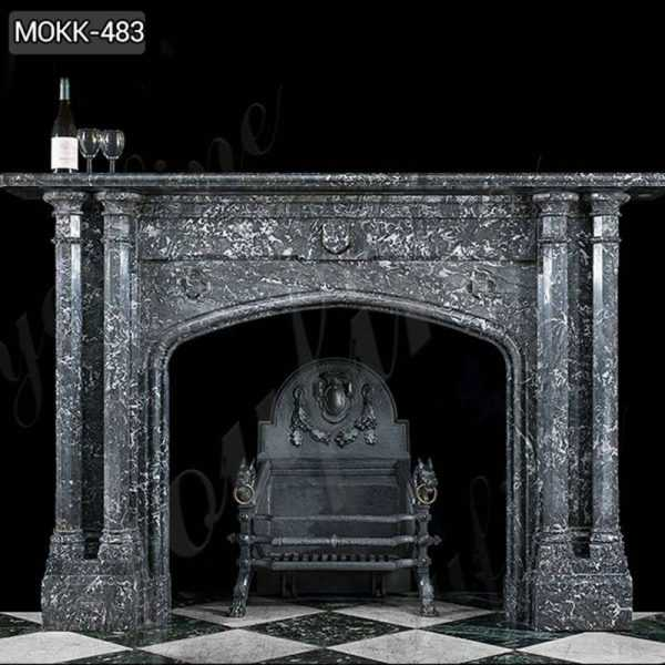 Modern Black Stone Column Fireplace Mantel
