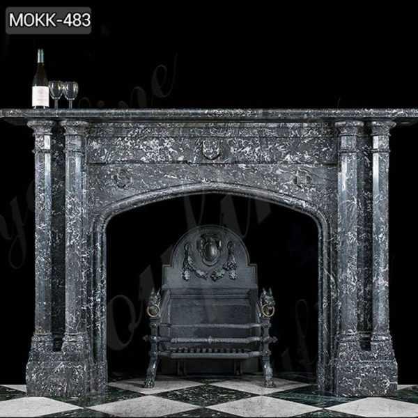 Modern Black Stone Column Fireplace Mantel