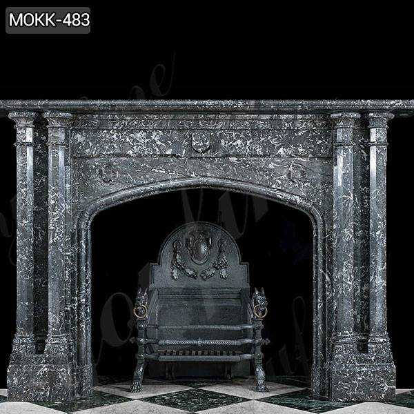 Modern Black Stone Column Fireplace Mantel for Sale