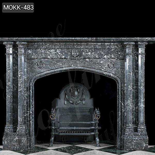 Modern Black Stone Column Fireplace Mantel for Sale