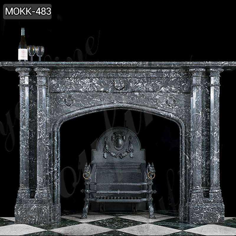 Modern Black Stone Column Fireplace Mantel for Sale MOKK-483