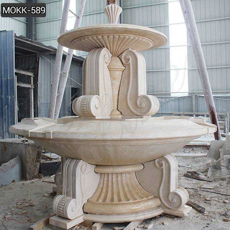 Outdoor Large Natural Beige Marble Water Fountain for Sale MOKK-589