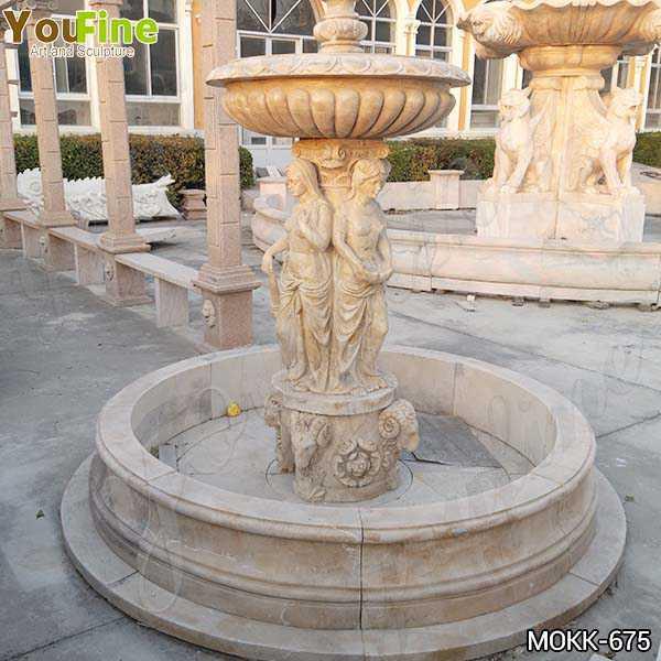 Outdoor Beige Marble Statuary Garden Fountain Manufacturer