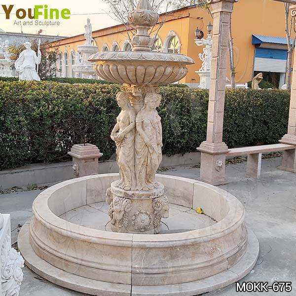 Outdoor Beige Marble Statuary Garden Fountain