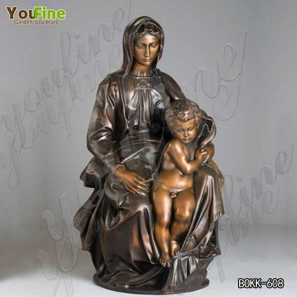 Outdoor Catholic Casting Bronze Mary Statue Holding Baby Jesus Supplier BOKK-608
