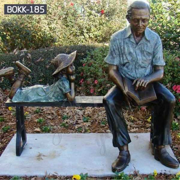 Outdoor Garden Bronze Grandfather and Child Sculpture for Sale