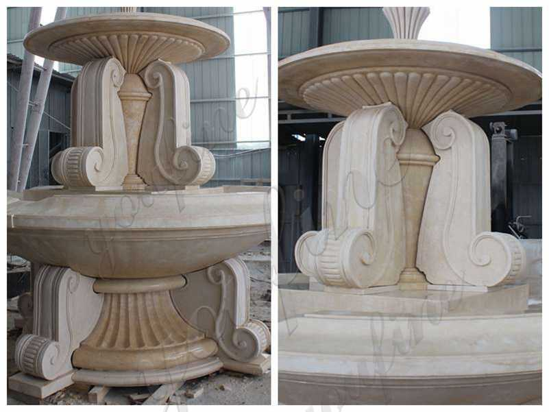 Outdoor Large Natural Beige Marble Water Fountain details