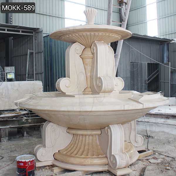 Outdoor Large Natural Beige Marble Water Fountain