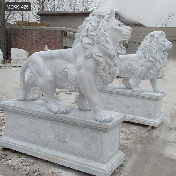 Outdoor Marble Walking Lion Statues for Sale