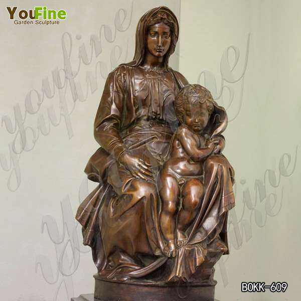 Outdoor Religious Bronze Mary and Baby Jesus Sculpture for Garden Maker BOKK-609