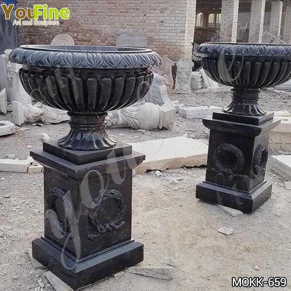 Outdoor Tall Garden Marble Flower Pots Black Marble planter for Sale MOKK-659