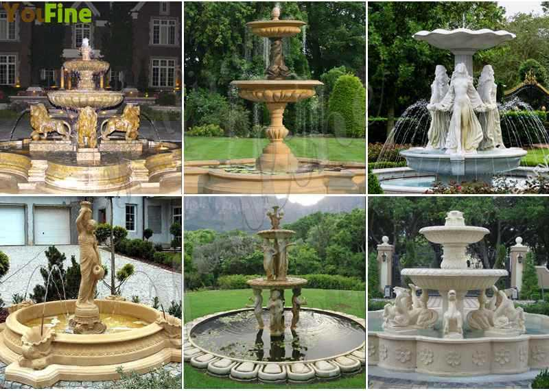 Outdoor Tiered White Marble Water Fountain
