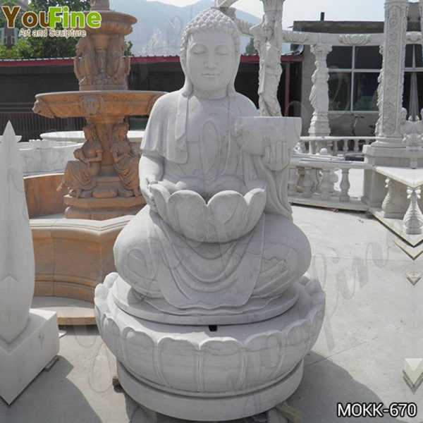 Outdoor White Marble Buddha Fountain for Sale