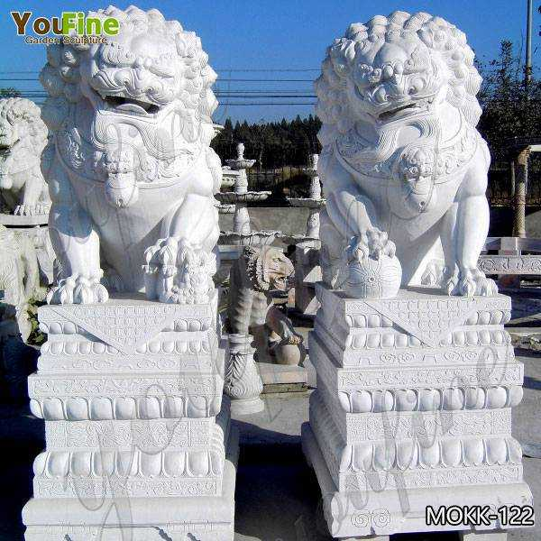 Outdoor White Marble Chinese Lion Statues for Sale