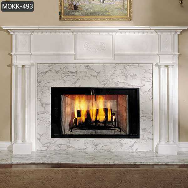 Simple Design Marble Fireplace White Home Indoor Decoration MOKK-493