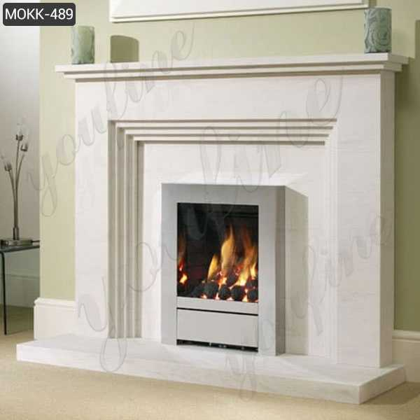 Simple Design White Outdoor Modern Marble Stone Fireplace for Sale MOKK-489