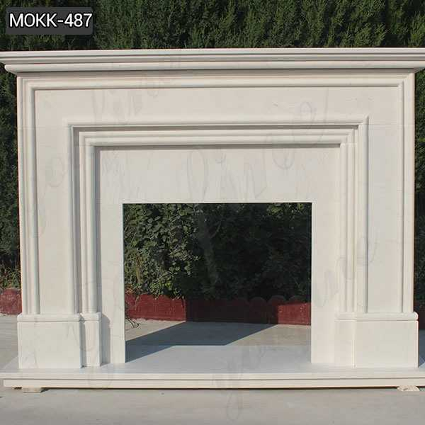 Simple Fireplace Modern Stone Design White marble Stone for Sale MOKK-487