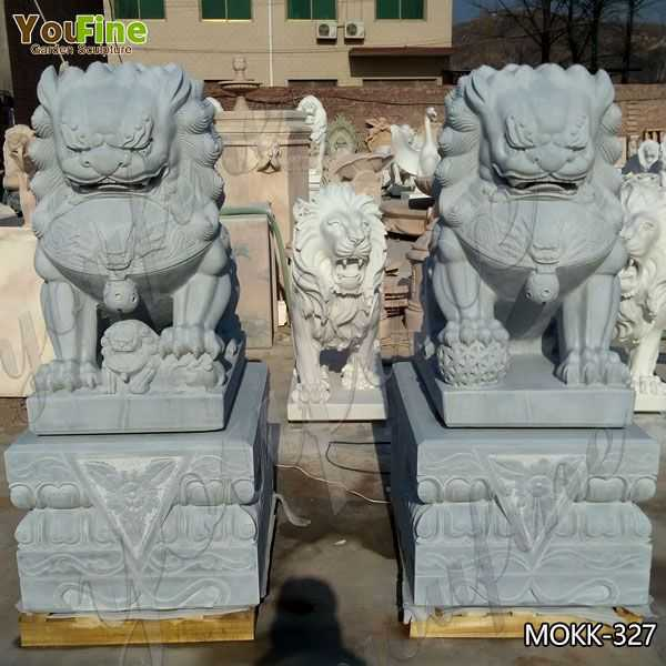 Hand Carved Stone Lion Statue for Front Porch Suppliers MOKK-327