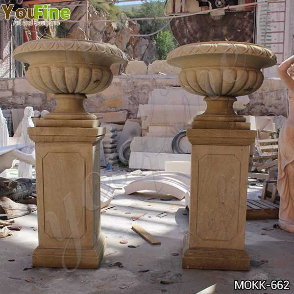 Tall Garden Yellow Marble Flower Pots Outdoor Decoration planter for Sale MOKK-662