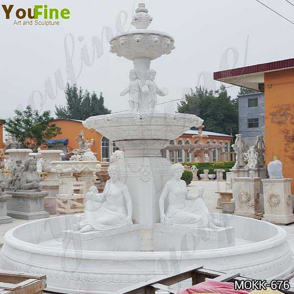 Tiered Marble Statue Yard Fountain for Sale