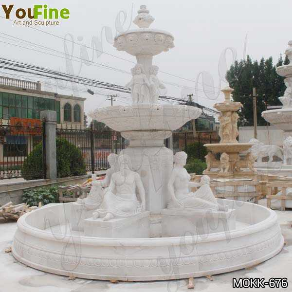 Two Tiered Marble Statue Yard Fountain for Sale