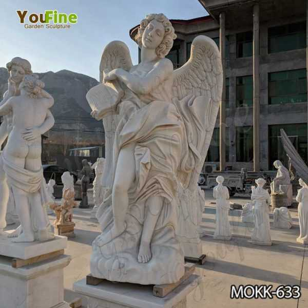 White Marble Female Angel Statue with Weeping Wings for Garden Decor