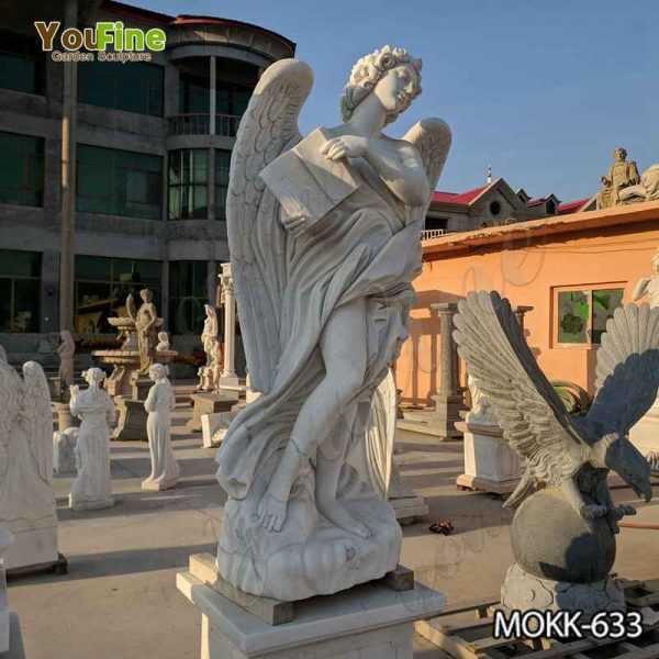 White Marble Female Angel Statue with Weeping Wings for Garden Decor Suppliers