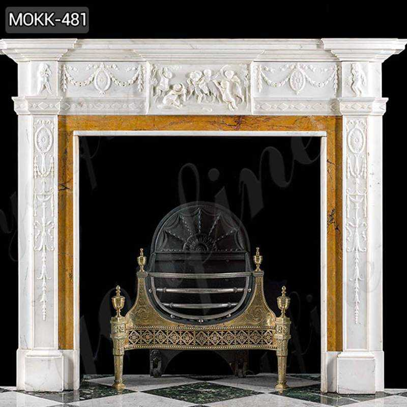 Hand Carved White Marble Georgian Fireplace Mantel Suppliers MOKK-481